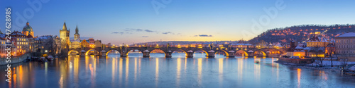 Panoramic View of Charles Bridge - Prague, Czech Republic - 247628985