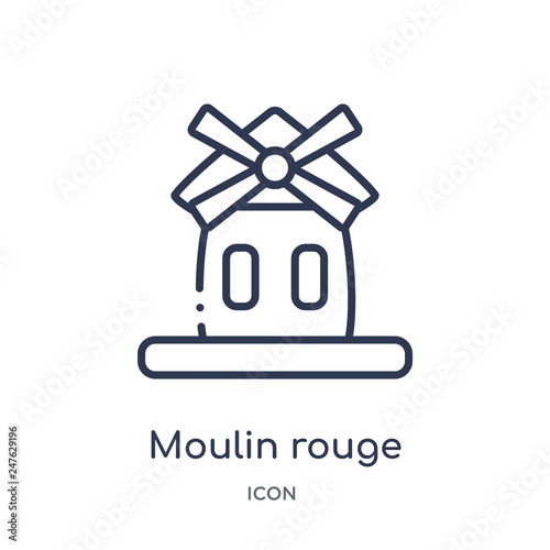 Photo  moulin rouge icon from travel outline collection