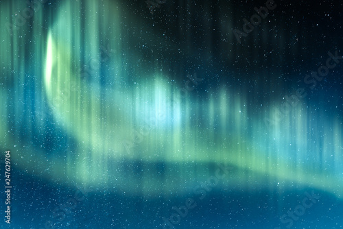 Photo sur Aluminium Aurore polaire Aurora borealis. Northern lights in winter mountains. Sky with polar lights and stars