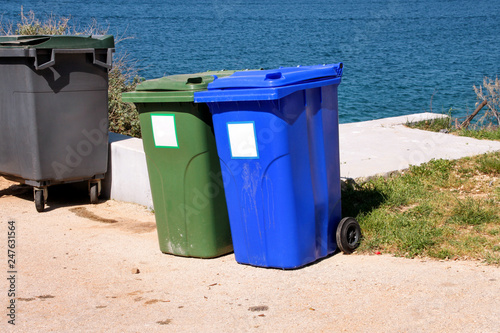 Trash Can Garbage Bin Recycling In Tourist Complex By Sea Side Of Road Waiting To