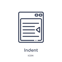 Indent Icon From User Interface Outline Collection. Thin Line Indent Icon Isolated On White Background.