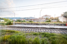 View Of Tuscany Platform In Countryside From Window Architecture In Italy During Summer With Cityscape And Houses