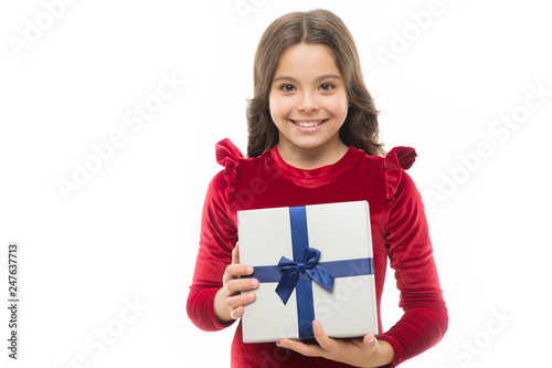 Birthday Girl Carry Present With Ribbon Bow Art Of Making Gifts Wish List What Is Inside Happy Concept Kid Hold Gift