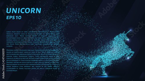 Photo  Unicorn of particles on a dark background