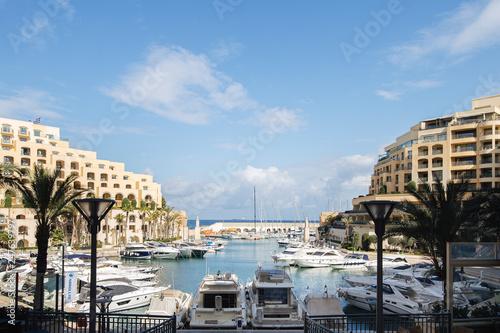Fototapeta View of the Portomaso Marina in St Julians Malta obraz