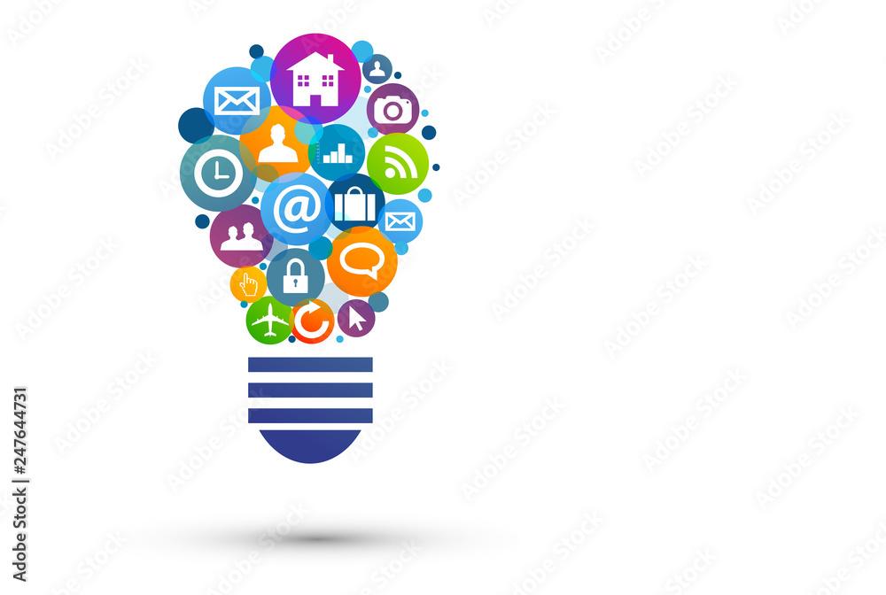 Fototapety, obrazy: lampadina, idea, colori, creatività, idee
