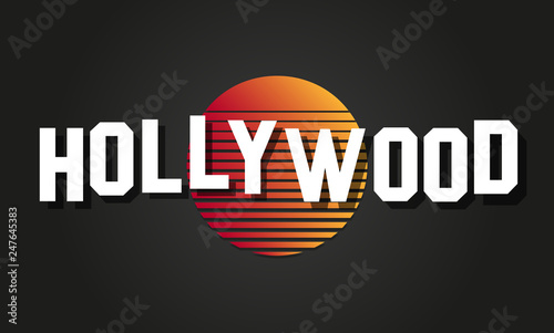 Hollywood text vector logo Canvas Print