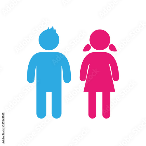 Fotografía  Vector girl and boy Icon.