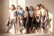 Leinwanddruck Bild - Multiracial toned women waiting for yoga lesson