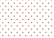 Tiny Dark Red Hearts On White Background Seamless Pattern For Valentine's Day