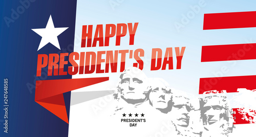 Foto Happy Presidents Day Rushmore USA abstract flag landscape color background banne