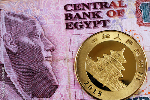 Fotografie, Tablou  A close up image of a one ounce Chinese Panda gold coin with an Egyptian ten pou