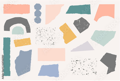 Fotomural Paper Cut Shapes and Textures Collage Set