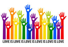 Rainbow Hands With Hearts, Love Is Love, Vector Illustration