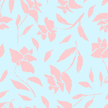 Gentle Blue Vintage Seamless Pattern With Pink Roses Silhouettes. Romantic Retro Flowers Texture For Textile, Wrapping Paper, Surface, Wallpaper, Background, Package