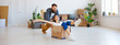 Leinwanddruck Bild - happy young married couple moves to new apartment