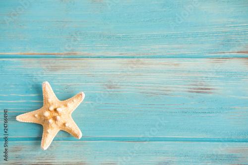 Obraz na plátně  Wooden background white with shells
