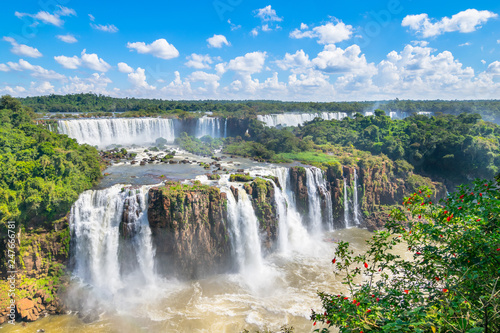 Garden Poster Brazil Beautiful view of Iguazu Falls, one of the Seven Natural Wonders of the World - Foz do Iguaçu, Brazil