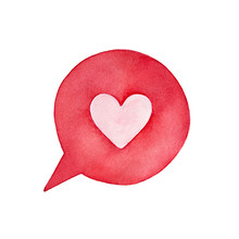 "Cute Pink Heart In Round Bright Speech Bubble Shape. Symbol Of Compliment, Romance, ""I Love You"" Words. Handdrawn Watercolour Painting, Isolated Clip Art Element For Design, Decor, Creative Collages."