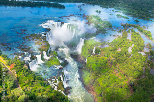 Fotomural Beautiful aerial view of Iguazu Falls from the helicopter ride, one of the Seven