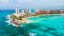 Aerial View Of Punta Norte Beach, Cancun, México