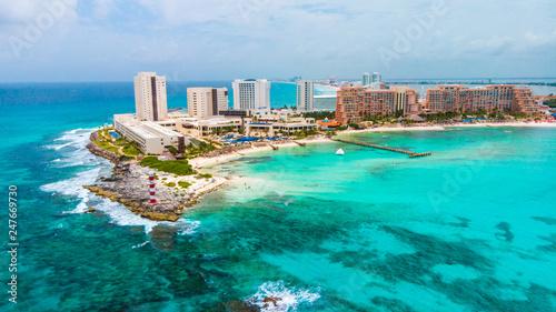 Aerial view of Punta Norte beach, Cancun, México