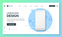 Landing Page Banner Template. Smartphone Realistic 3d Illustration, Mobile Interface Concept. Vector Layout Design.
