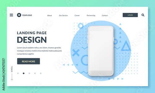 Obraz Landing page banner template. Smartphone realistic 3d illustration, mobile interface concept. Vector layout design. - fototapety do salonu