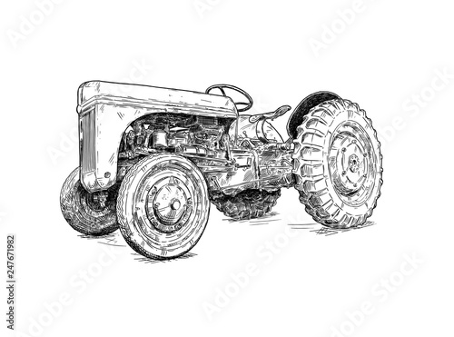 Fotografia  Old vintage tractor digital pen and ink illustration