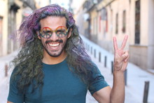 Cheerful Hippie With A Fun Look