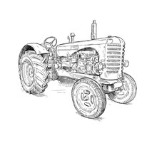 Artistic Digital Pen And Ink Drawing Of Old Tractor. Tractor Was Made In Scotland, United Kingdom In Between 1954 - 1958 Or 50's.