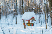 Close-up Photo Of Empty Wooden Birdhouse Covered With A Large Layer Of Snow, House For Birds Suspended From A Tree, Rescue Of Migratory Birds, Bird Feeder/ Nesting Box, Shelter For Birds, Winter Park.