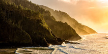 Golden Hour Over The Oregon Coastline