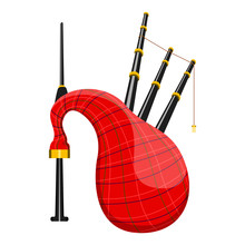Isolated Scottish Bagpipe Image. Vector Illustration Design
