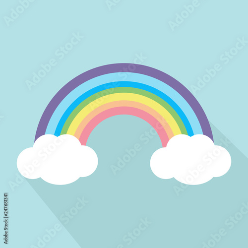 Pastel rainbow with long shadow