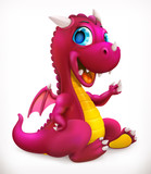 Fototapeta Dinusie - Little red dragon cartoon character. Funny animal, 3d vector icon