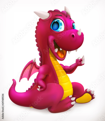 Fotografie, Obraz Little red dragon cartoon character. Funny animal, 3d vector icon