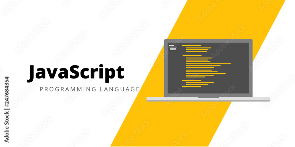 Fototapety, obrazy: Learn to code Javascript Programming language, illustration Javascript programming language with script code on laptop screen, programming language code illustration - Vector