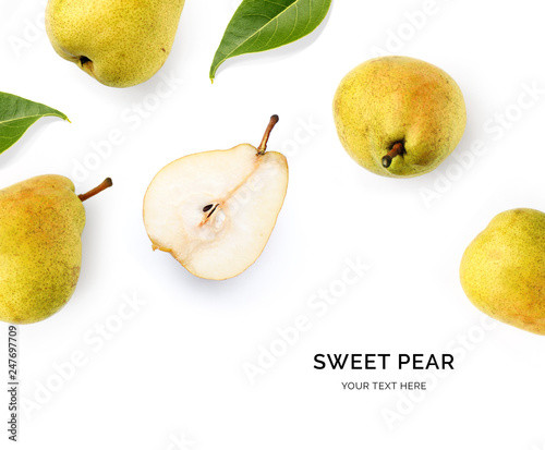 Creative layout made of pear on the white background Wallpaper Mural