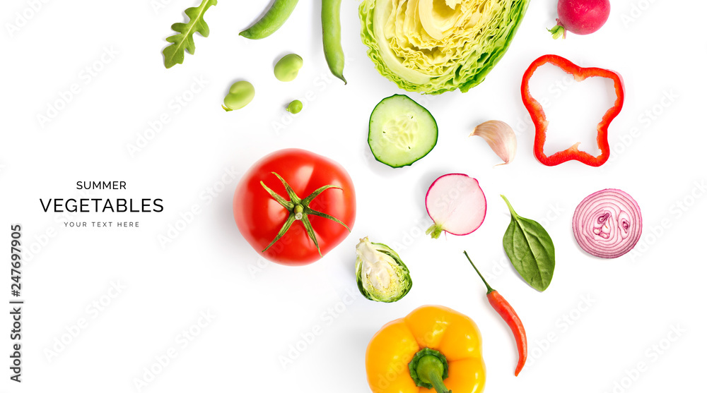 Fototapety, obrazy: Creative layout made of summer vegetables. Food concept. Tomatoes, onion, cucumber, green peas, garlic, cabbage, chilly pepper, yellow pepper, salad leaves and radish on white background.