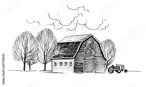 Foto auf Acrylglas Weiß Old barn and trees. Ink black and white illustration