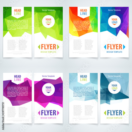 Fototapeta Brochure or flyer template set layout, cover design, annual report, magazine. Abstract triangle background. obraz