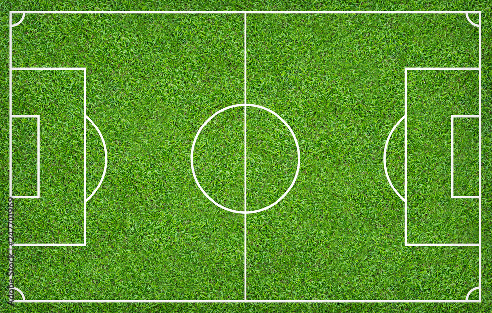 Fototapeta Football field or soccer field for background. Green lawn court for create game.
