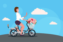 Woman Cycling Bicycle Carrying Flowers Bouquet In Basket Happy Womans Day Concept Girl Riding Bike Female Cartoon Character Full Length Horizontal Flat
