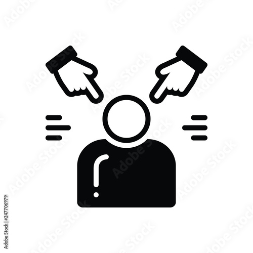 Photo Black solid icon for accusation