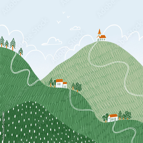 In de dag Olijf Tiny houses on hills, illustrated landscape