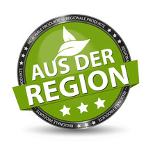 German Glossy Button Regional Products With Leaves And Stars - Green Vector Illustration - Isolated On White Background