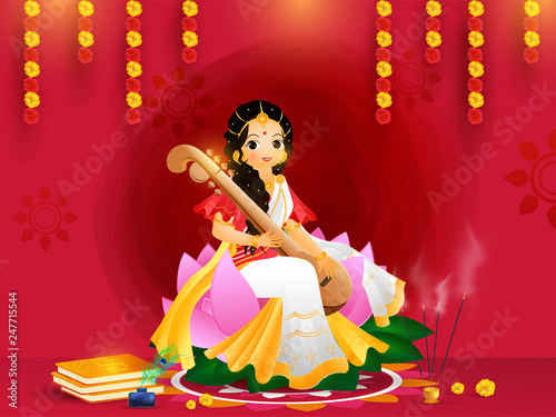 Beautiful greeting card design with goddess saraswati character in sitting pose on the occasion of Vasant Panchami Wallpaper Mural