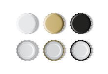 White, Gold And Black Bottle Cap  Mock Up Vector