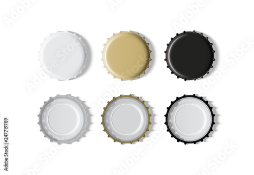 Fototapeta white, gold and black bottle cap  mock up vector obraz
